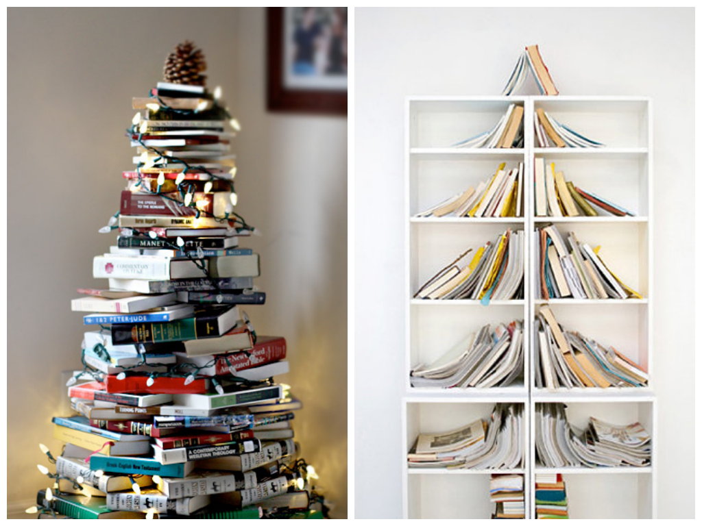 Christmas trees with books