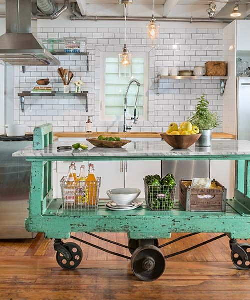 Urban Industrial Age Kitchen Warehouse Cart Island By: Turn Your Home Into A Restaurant: 6 Design Tips