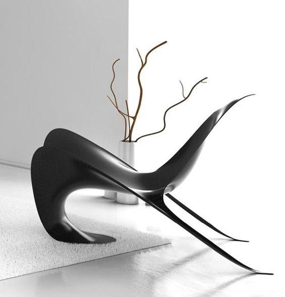Black Chair In A White Facade